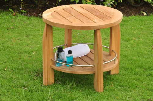 Grade-A Teak Wood Round Shower Spa Bench Stool Outdoor Pa...