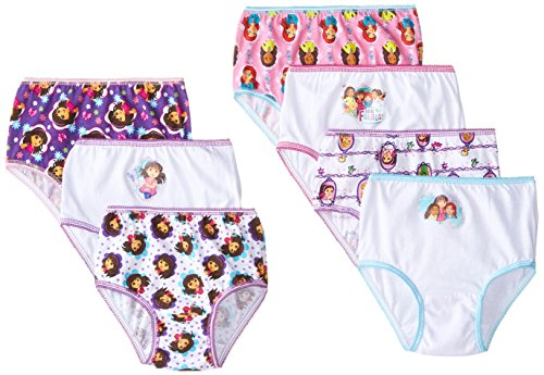 Handcraft Little Girls'  Nick Dora and Friends  Underwear (Pack of 7), Multi, 2T/3T