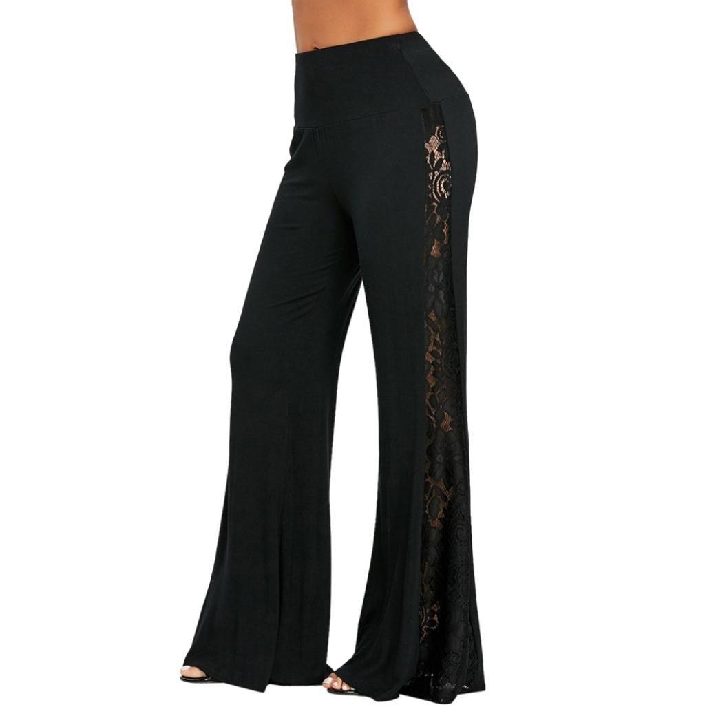Minisoya Fashion Women High Waist Flowy Lace Patchwork Wide Leg Palazzo Pants Leggings Casual Loose Lounge Trousers (Black, 2XL) by Minisoya