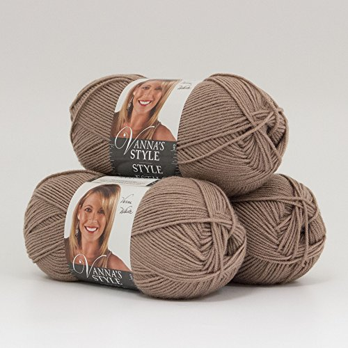Brown Light Mohair (Lion Brand (3 Pack) Vanna's Style 100% Acrylic Soft Taupe Yarn for Knitting Crocheting Light #3)