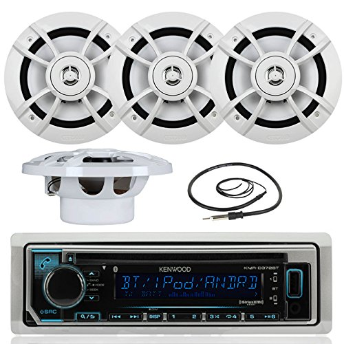 Great New Kenwood Marine Boat Yacht Outdoor Bluetooth Stereo CD MP3 Player USB iPod iPhone Pandora AM/FM Reciver, 4 X Kenwood 6.5