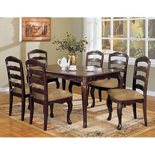 Furniture Of America Kathryn 7 Piece Classic Style Dining Table Set, Dark  Walnut Finish