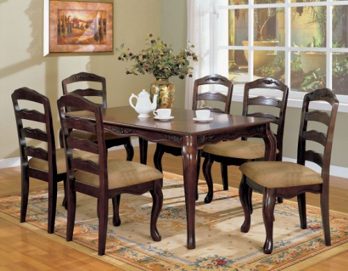 Furniture of America Kathryn 7-Piece Classic Style Dining Table Set, Dark Walnut (Formal Dining Room Furniture)