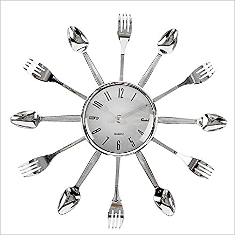 Relaxdays Reloj de pared Reloj para cocina Diseño Cubiertos ...