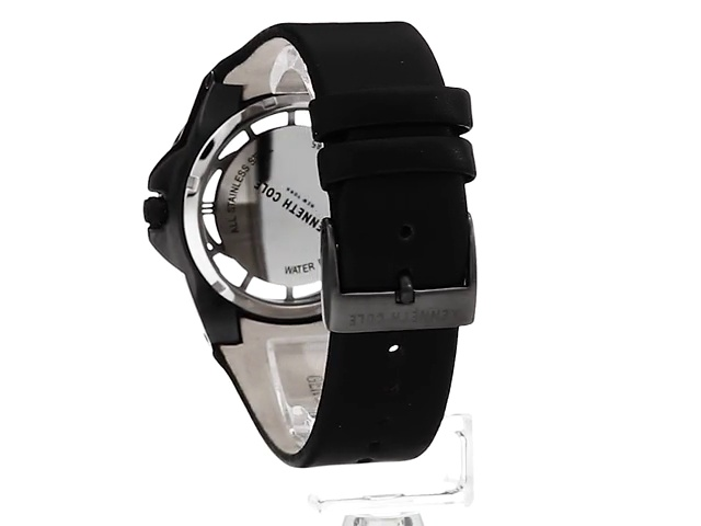 Kenneth Cole New York Men's Transparency Stainless Steel Japanese-Quartz Watch with Leather Calfskin Strap, Black, 29 (Model: 10030785)