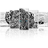 Black and White Animal Canvas Wall Art,Abstract Leopard Canvas Prints with Frame,Attractive Leopard Picture Decorative,Easy Hanging On,More Size Optional (16 (10''x16''x2+10''x20''x2+10''x24''x1)