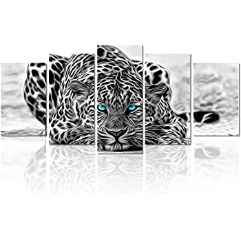 Amazon.com: Black and White Animal Canvas Wall Art, Abstract Leopard ...