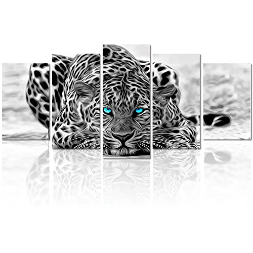 Black and White Animal Canvas Wall Art,Abstract Leopard Canvas Prints with Frame,Attractive Leopard Picture Decorative,Easy Hanging On,More Size Optional (16 (10