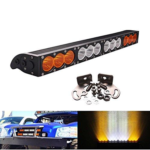 Amber Led Light Bar Fog Lightronic 22inch 120W Led Light Bar Combo Amber/White Lens Single Row Led Light Bar Cree Led for Jeep Wrangler Offroad SUV Truck 4x4