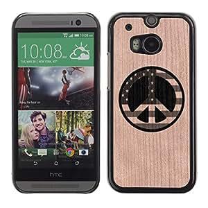 - / Peace America Usa Freedom Sign - - Funda Delgada Cubierta Case Cover de Madera / FOR HTC M8 One 2 / Jordan Colourful Shop/