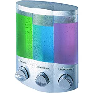 Better Living Products 76334-1 Euro Dispenser TRIO Satin Silver-Chrome Botones