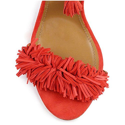 uBeauty Women's Shoes Lace Up High Heel Sandals Stiletto Tassel Fringe Tie Up Pumps H-Red 12cm heel QrM9Q9sGS