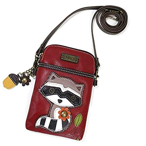 Chala Crossbody Cell Phone Purse - Women PU Leather Multicolor Handbag with Adjustable Strap - Raccoon - Burgundy