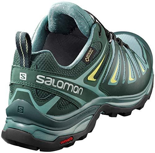 Salomon Women's X Ultra 3 Wide GTX Hiking Shoes, Artic/Darkest Spruce/Sunny Lime, 5.5 D(M) US by Salomon (Image #2)