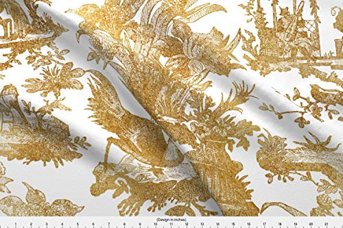 Spoonflower Toile Fabric - Chinoiserie Asian Gilt Gold Chinese Antique - by Peacoquettedesigns Printed on Eco Canvas Fabric by The Yard from Spoonflower