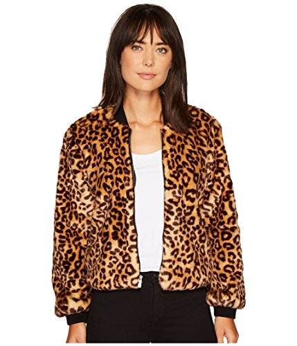 (Splendid Women's Leopard Faux Fur Bomber Jacket, Tank, Medium)