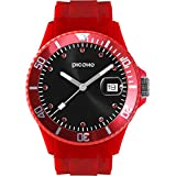 PICONO Red Time and Date Water Resistant Analog Quartz Watch - No. 06
