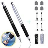 aibow Capacitive Stylus Pens for Touch Screens [ Fine Point Disc Tip & Mesh Tip 2in1 ] with 4 Replaceable Disc Tips & 4 Replaceable Mesh Tips (Black Silver)