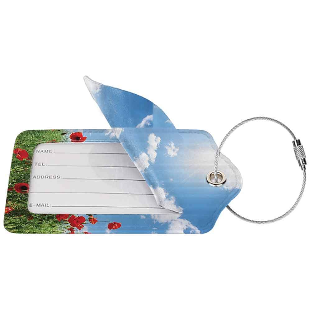 Durable luggage tag Poppy Decor Collection Red Poppies on Green Field Grassy Sunshine Rays Wild Plants Herbs Botany Image Unisex Blue Red Green W2.7 x L4.6