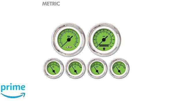 Aurora Instruments GAR258ZMARABAC Rider Green 6-Piece Gauge Set with Emblem