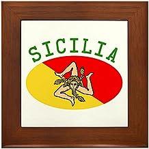 CafePress - Sicilian Flag - Framed Tile, Decorative Tile Wall Hanging