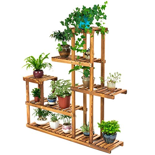 5-Tier Indoor/Outdoor Wood Plant Stand, Planter Shelves Flower Planter Rack Pots Display Holder,Utility Storage Organizer Rack - 48.8x48.8x10.2 inch