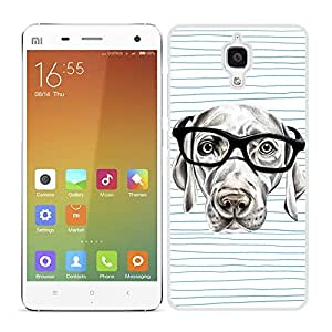 Funda carcasa para Xiaomi MI4 perro con gafas borde blanco