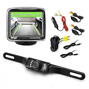 """Pyle Wireless Backup Car Camera Rearview Monitor System - Parking & Reverse Safety Distance Scale Lines, Waterproof & Night Vision Cam, 3.5"""" LCD Screen Video Color Display for Vehicles - (PLCM34WIR)"""