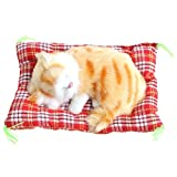 Cute Sleeping Cat Press Simulation Sound Animal Stuffed Doll Toy With Sound Seat Cat for Car Ornaments (yellow)