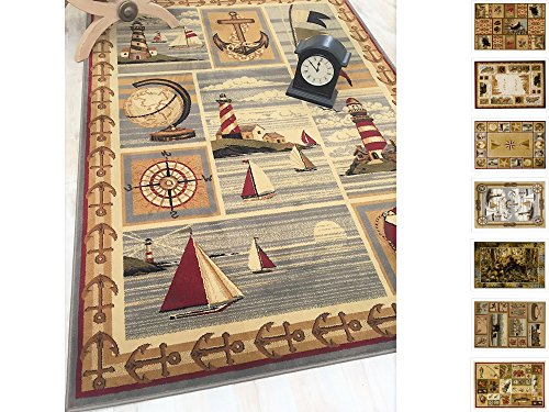 Handcraft Rugs Cabin Rug – Lodge, Cabin Sailing Accent Area Rug – Modern Geometric Design Cabin Area Rug – Abstract, Beige/Multicolor Design– Lighthouse/Anker/Sailing Boats/Compass (8 x 10 feet)