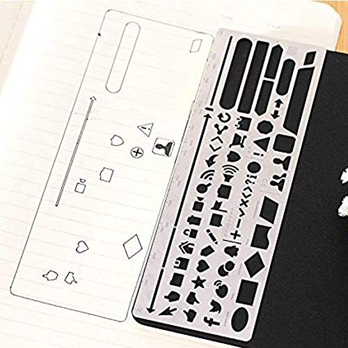 Trycooling 6 In 1 Stainless Steel Portable Drawing Graffiti Web UI/IOS/Number Alphabet/Vintage Brass Alphabet & Number Template Ruler Stencils by Trycooling (Image #4)