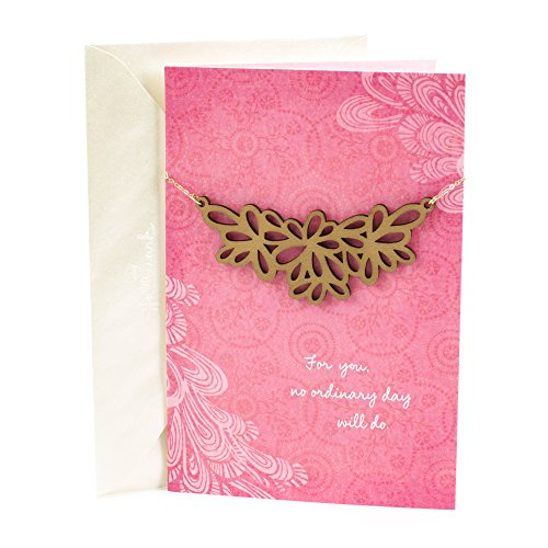 Hallmark Signature Greeting Card for Mom with Wooden Pendant (Removable Necklace Included)