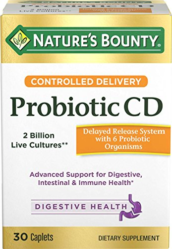 Natures Bounty Probiotics Pills Controlled Delivery Dietary Supplement, Supports Digestive and Intestinal Health, 30 Caplets