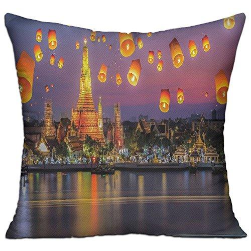 Qqwwjjffgg Unisex Wat Arun Temple Thailand Bangkok Coastline People Wishing Positive Asian Culture Decorative Items Cushion (Patio Bangkok)