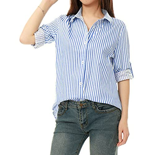 6aa90c66cee Women s Classic Blue And White Striped Button Down Shirt – AGATHAGARCIA.COM