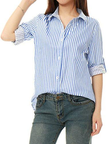 Allegra K Women's Vertical Stripes Button Down Long Roll up Sleeves Shirt Light Blue XL US 18
