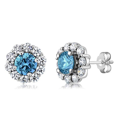 Gem Stone King 4.00 Ct Round Swiss Blue Topaz Gemstone Birthstone 925 Sterling Silver Stud Earrings