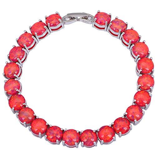 Dana 925 Silver Red Fire Opal Bracelets Bangles for Teen Girls Pulseiras Femininas 19.5cm 7.67inch B432