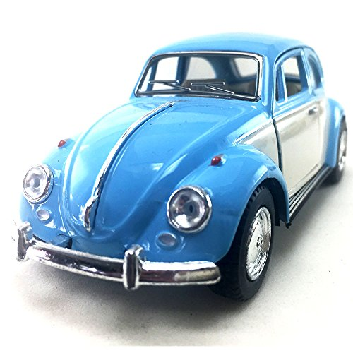 KiNSMART 1967 Volkswagen VW Classic Beetle Bug 2 Tone Color Blue/White 1:32 DieCast Model Toy Car Collectible Hobby Collection