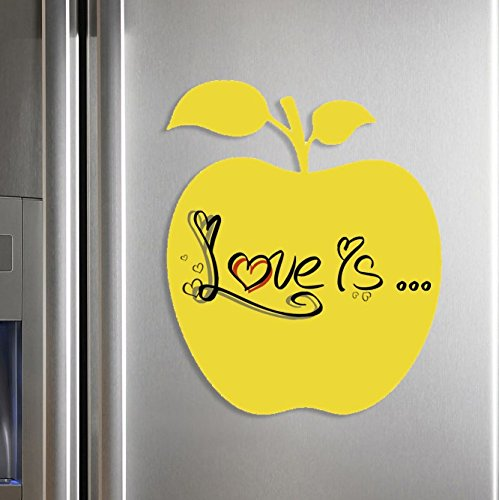 Dry Erase Board-Surface Magnet 12 X 14.5 Apple Design Yellow. Take Stylish Notes!