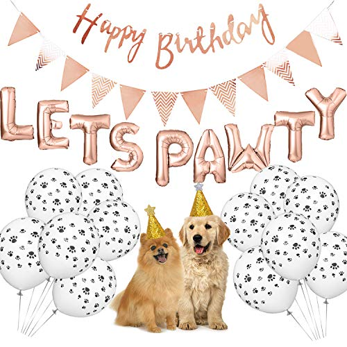 Dog Birthday Party Supplies, Lets Pawty Balloons Banner,Paw Print Balloons, Pet Birthday Hat Happy Birthday Banner Foil Balloons (Rose Gold)]()