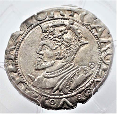 - 1545 DE Germany Antique German States Silver Authenticated Coin Carolus AU50 PCGS