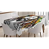 Rasta Tablecloth by Ambesonne, Rasta Man Jamaican Island Theme Reggae Folk Culture Concept Sketchy Portrait Image, Dining Room Kitchen Rectangular Table Cover, 52 W X 70 L Inches, Multicolor