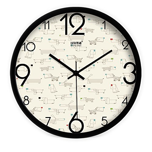 - FortuneVin Wall Clock Silent movement Wall Clock Home Office Decor for Living Room Bedroom and Kitchen Clock Wall Creative Animated Color Point Dog Modern Mute Quartz755,16 Inin. Black