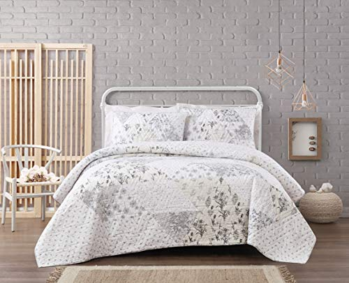 Cottage Classics Kamala Floral Cotton Pieced Quilt Set, King, Grey/Cream