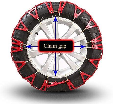非金属タイヤチェーン マウント緊急トラクションへの容易なポータブルタイヤのスノーチェーンアンチスキッド タイヤチェーン 軽自動車 (Color : Red, Size : 215/55 R16)