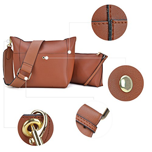 Bag 1 Inner Hobo 2 Dasein Shoulder Vegan Leather Bag Matching Cosmetic Messenger in W pink 1092 Pouch Crossbody xPCwzwEq1