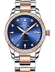 CARNIVAL Womens Diamond Automatic Machine Rose Gold Stainless Steel Sapphire Waterproof Women Blue Watch