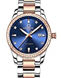 CARNIVAL Womens Diamond Automatic Machine Rose Gold Stainless Steel Sapphire Waterproof Women Blue Watch