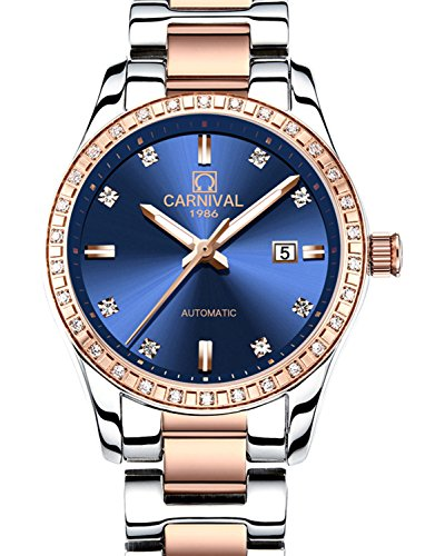 - CARNIVAL Womens Diamond Automatic Machine Rose Gold Stainless Steel Sapphire Waterproof Women Blue Watch